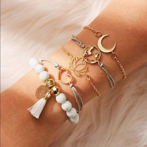 Lotus 5 Piece Summer Bracelet Set Bead Tassel